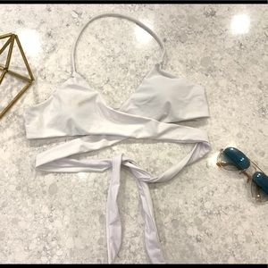 White wrap bikini top